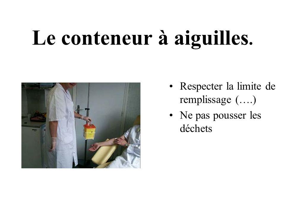 Le conteneur à aiguilles. Respecter la limite de remplissage (….) Ne pas pousser les déchets
