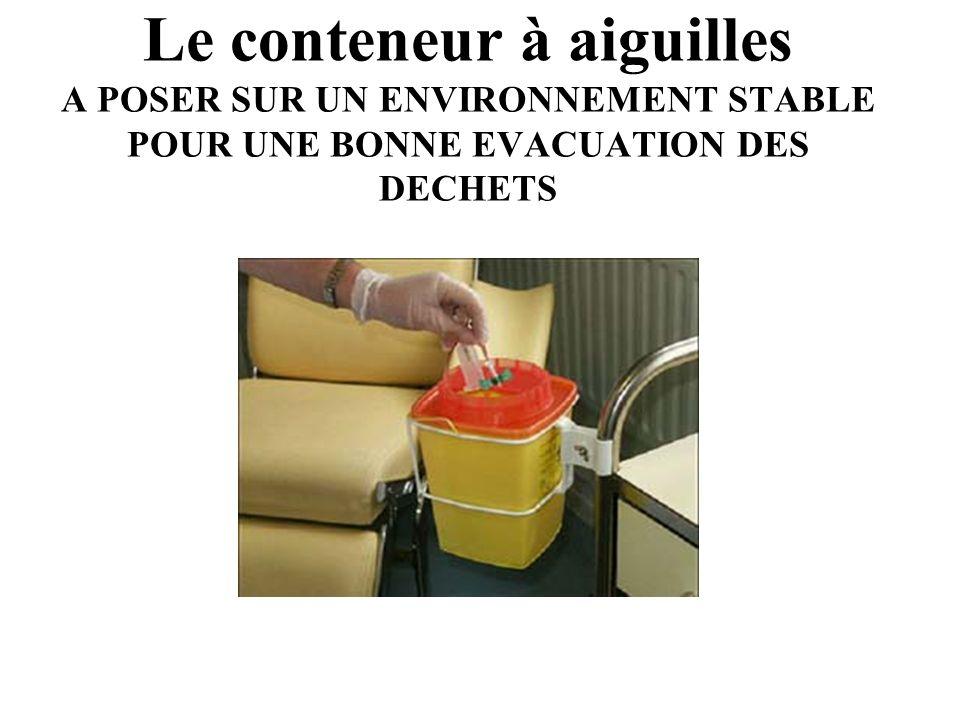 Le conteneur à aiguilles A POSER SUR UN ENVIRONNEMENT STABLE POUR UNE BONNE EVACUATION DES DECHETS