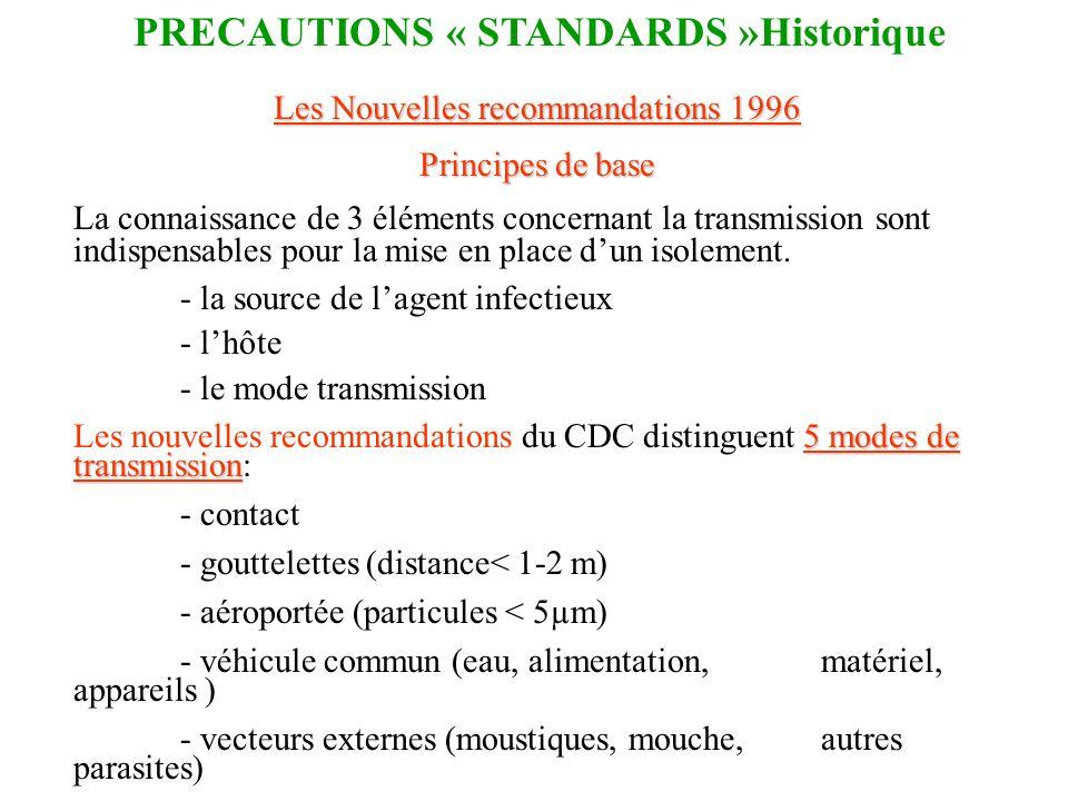 Les Nouvelles recommandations 1996 Principes de base La connaissance de 3 éléments concernant la transmission sont indispensables pour la mise en plac