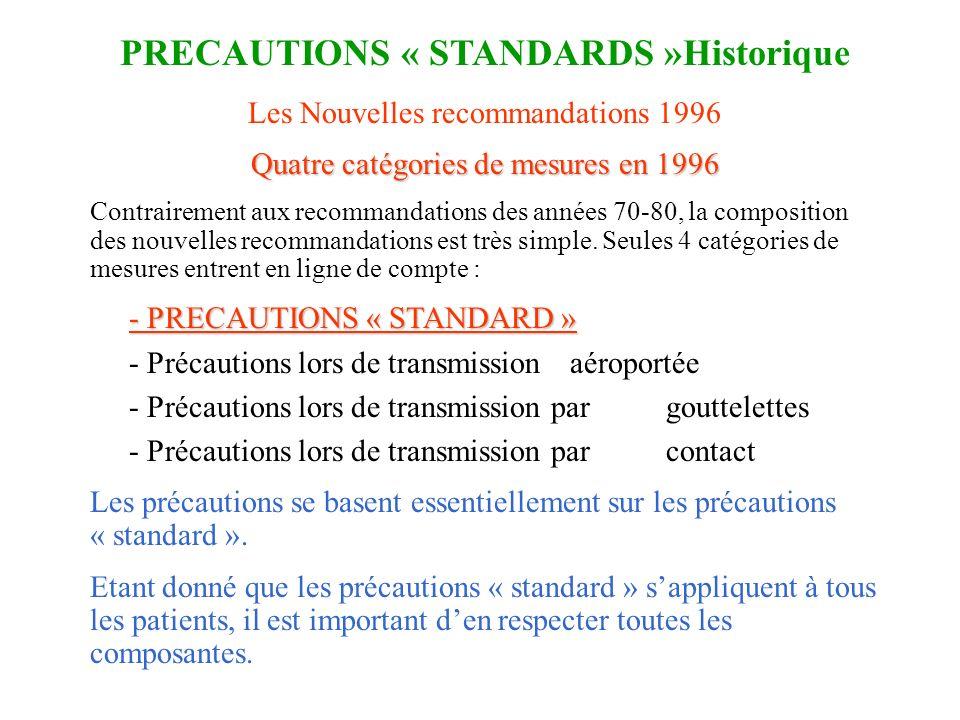 Les Nouvelles recommandations 1996 Quatre catégories de mesures en 1996 Contrairement aux recommandations des années 70-80, la composition des nouvell