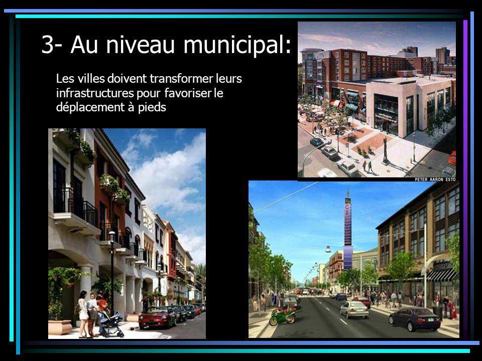 3- Au niveau municipal: Les villes doivent transformer leurs infrastructures pour favoriser le déplacement à pieds