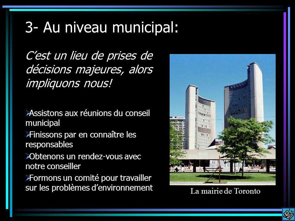 3- Au niveau municipal: Cest un lieu de prises de décisions majeures, alors impliquons nous.