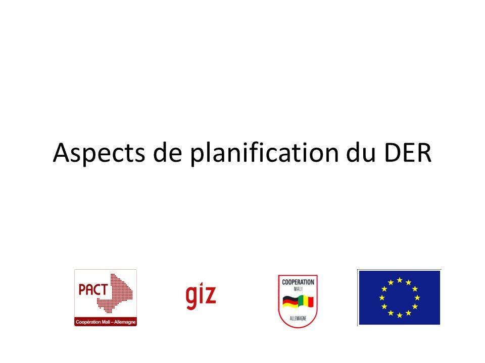Aspects de planification du DER