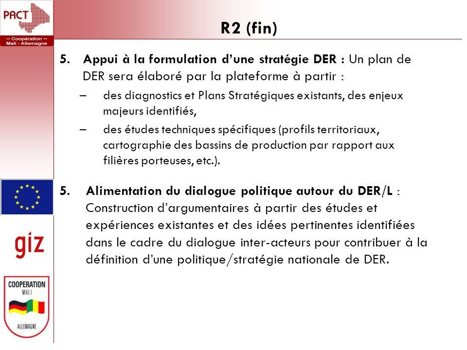R2 (fin) 5.Appui à la formulation dune stratégie DER : Un plan de DER sera élaboré par la plateforme à partir : –des diagnostics et Plans Stratégiques existants, des enjeux majeurs identifiés, –des études techniques spécifiques (profils territoriaux, cartographie des bassins de production par rapport aux filières porteuses, etc.).