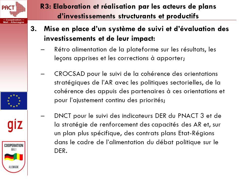R3: Elaboration et réalisation par les acteurs de plans dinvestissements structurants et productifs 3.Mise en place dun système de suivi et dévaluation des investissements et de leur impact: –Rétro alimentation de la plateforme sur les résultats, les leçons apprises et les corrections à apporter; –CROCSAD pour le suivi de la cohérence des orientations stratégiques de lAR avec les politiques sectorielles, de la cohérence des appuis des partenaires à ces orientations et pour lajustement continu des priorités; –DNCT pour le suivi des indicateurs DER du PNACT 3 et de la stratégie de renforcement des capacités des AR et, sur un plan plus spécifique, des contrats plans Etat-Régions dans le cadre de lalimentation du débat politique sur le DER.