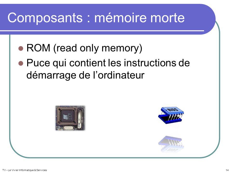 TV - Le Vivier Informatique & Services14 Composants : mémoire morte ROM (read only memory) Puce qui contient les instructions de démarrage de lordinat