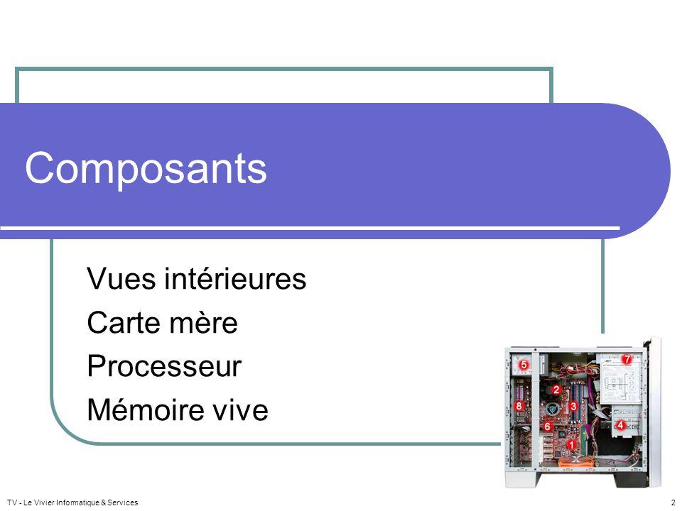 TV - Le Vivier Informatique & Services 2 Composants Vues intérieures Carte mère Processeur Mémoire vive