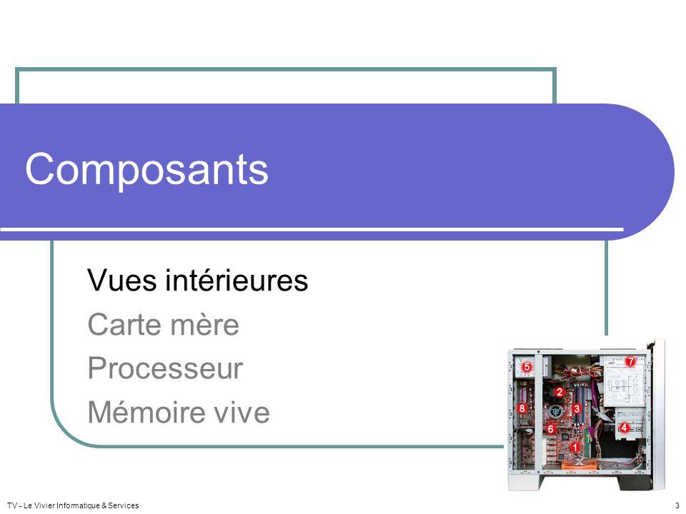 TV - Le Vivier Informatique & Services 3 Composants Vues intérieures Carte mère Processeur Mémoire vive
