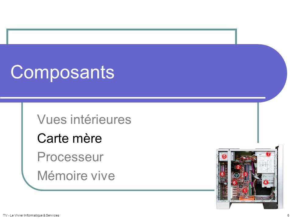 TV - Le Vivier Informatique & Services 6 Composants Vues intérieures Carte mère Processeur Mémoire vive