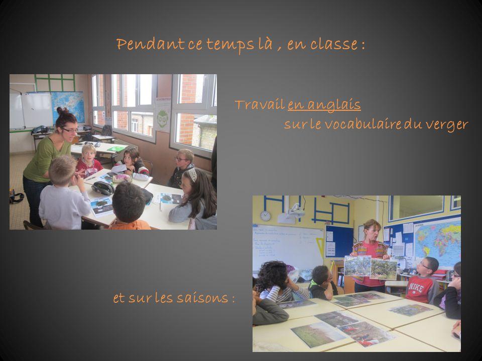 Pendant ce temps là, en classe : Travail en anglais sur le vocabulaire du verger et sur les saisons :