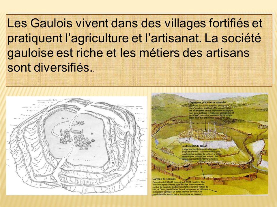 Les Gaulois vivent dans des villages fortifiés et pratiquent lagriculture et lartisanat. La société gauloise est riche et les métiers des artisans son