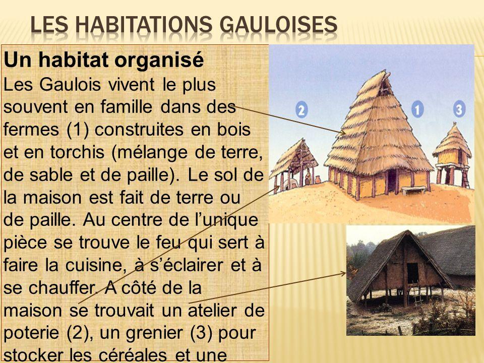 Un habitat organisé Les Gaulois vivent le plus souvent en famille dans des fermes (1) construites en bois et en torchis (mélange de terre, de sable et
