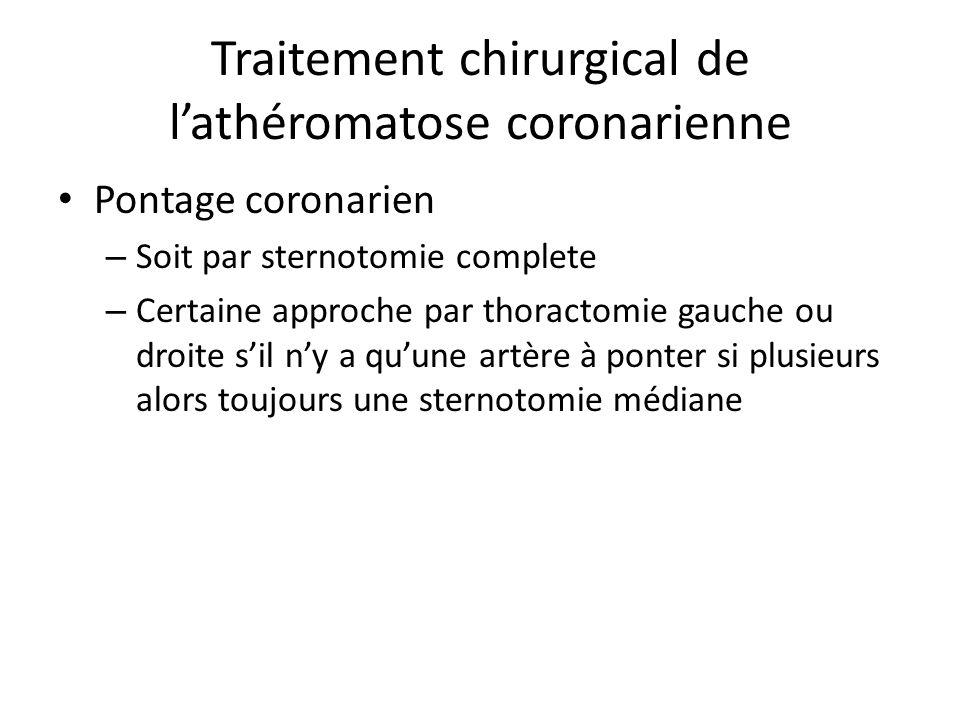 Traitement chirurgical de lathéromatose coronarienne Pontage coronarien – Soit par sternotomie complete – Certaine approche par thoractomie gauche ou droite sil ny a quune artère à ponter si plusieurs alors toujours une sternotomie médiane