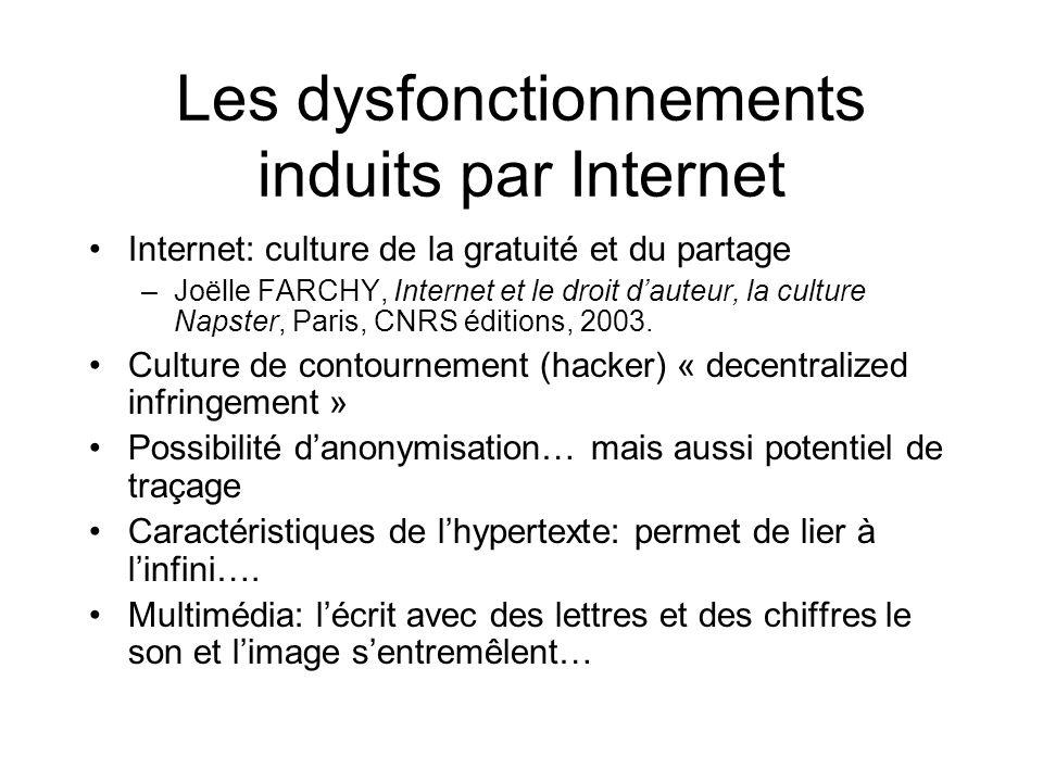 Les dysfonctionnements induits par Internet Internet: culture de la gratuité et du partage –Joëlle FARCHY, Internet et le droit dauteur, la culture Napster, Paris, CNRS éditions, 2003.