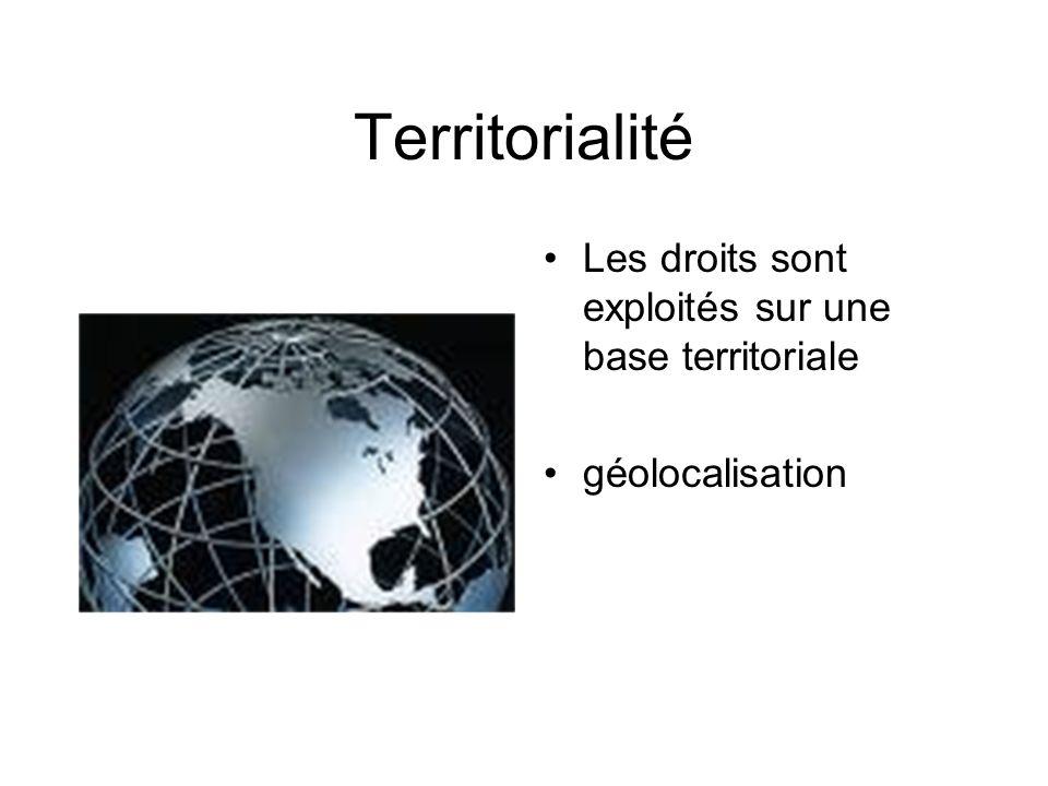 Territorialité Les droits sont exploités sur une base territoriale géolocalisation