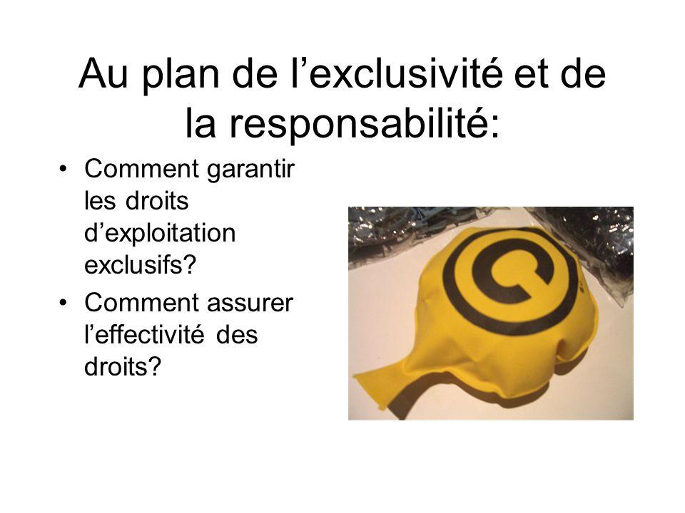 Au plan de lexclusivité et de la responsabilité: Comment garantir les droits dexploitation exclusifs.