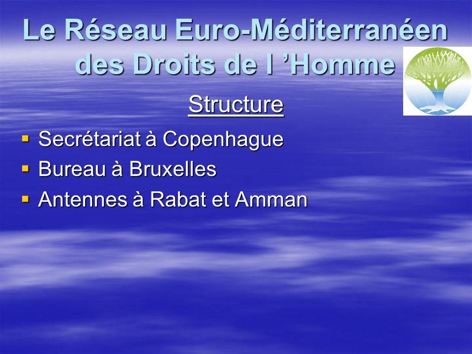 Le Réseau Euro-Méditerranéen des Droits de l Homme Structure Secrétariat à Copenhague Secrétariat à Copenhague Bureau à Bruxelles Bureau à Bruxelles Antennes à Rabat et Amman Antennes à Rabat et Amman