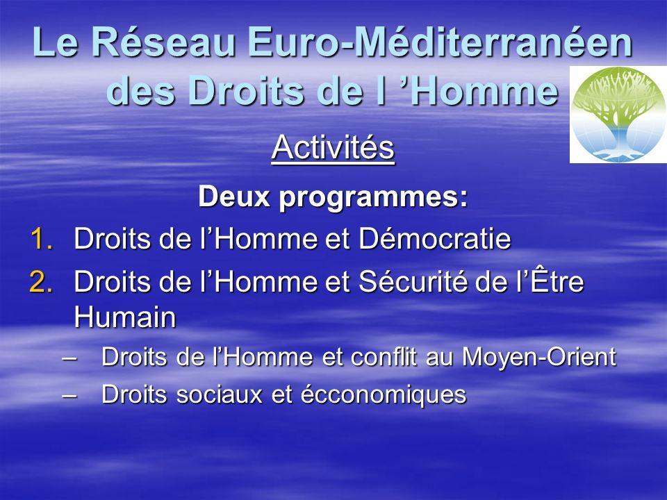 Le Réseau Euro-Méditerranéen des Droits de l Homme Activités Deux programmes: 1.Droits de lHomme et Démocratie 2.Droits de lHomme et Sécurité de lÊtre Humain –Droits de lHomme et conflit au Moyen-Orient –Droits sociaux et écconomiques