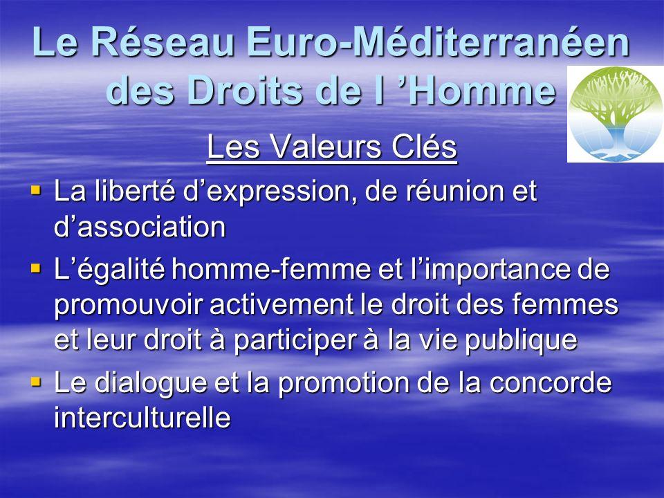 Le Réseau Euro-Méditerranéen des Droits de l Homme Les Valeurs Clés La liberté dexpression, de réunion et dassociation La liberté dexpression, de réunion et dassociation Légalité homme-femme et limportance de promouvoir activement le droit des femmes et leur droit à participer à la vie publique Légalité homme-femme et limportance de promouvoir activement le droit des femmes et leur droit à participer à la vie publique Le dialogue et la promotion de la concorde interculturelle Le dialogue et la promotion de la concorde interculturelle
