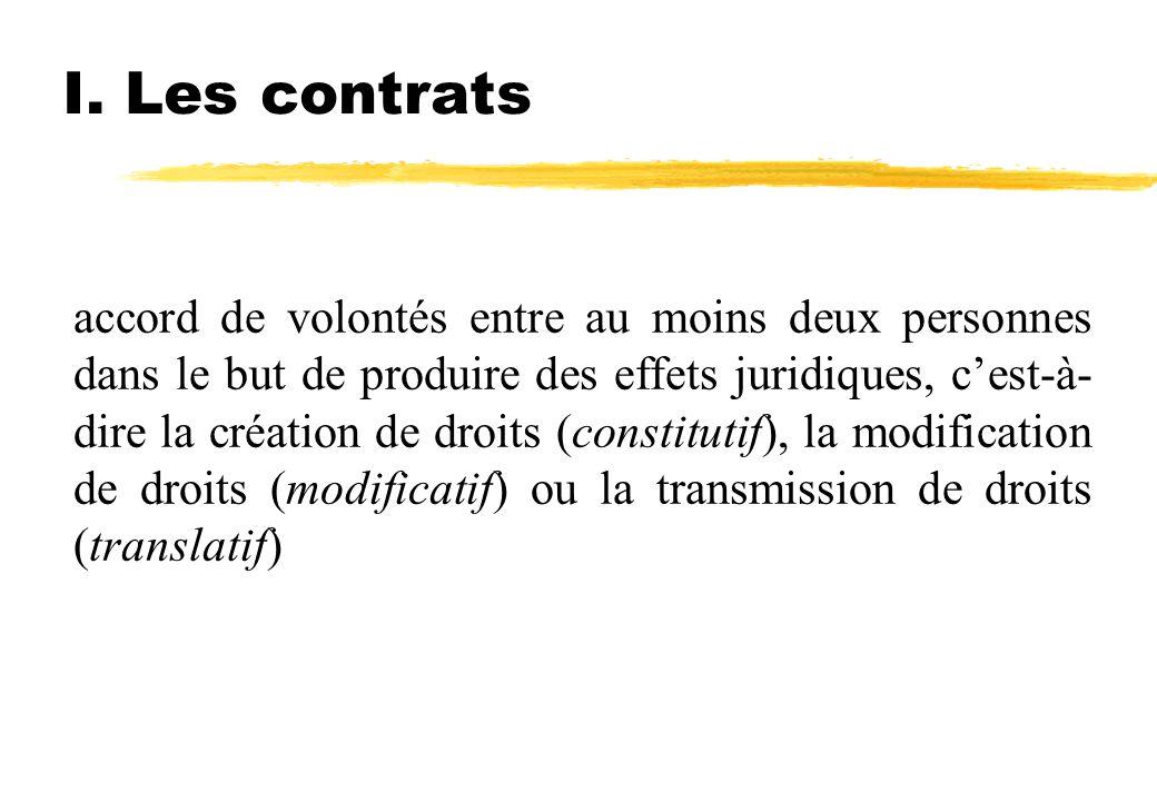 I. Les contrats accord de volontés entre au moins deux personnes dans le but de produire des effets juridiques, cest-à- dire la création de droits (co