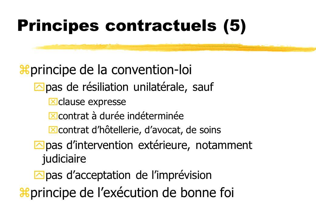Principes contractuels (5) zprincipe de la convention-loi ypas de résiliation unilatérale, sauf xclause expresse xcontrat à durée indéterminée xcontrat dhôtellerie, davocat, de soins ypas dintervention extérieure, notamment judiciaire ypas dacceptation de limprévision zprincipe de lexécution de bonne foi