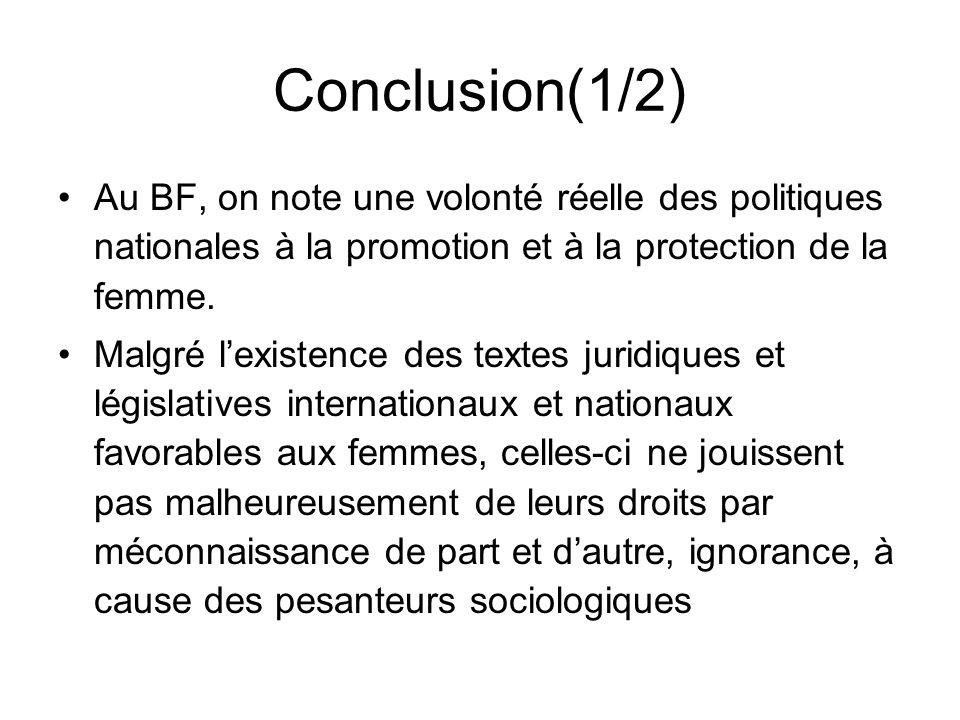 Conclusion(1/2) Au BF, on note une volonté réelle des politiques nationales à la promotion et à la protection de la femme. Malgré lexistence des texte