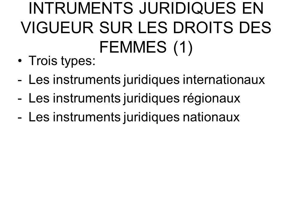 INTRUMENTS JURIDIQUES EN VIGUEUR SUR LES DROITS DES FEMMES (1) Trois types: -Les instruments juridiques internationaux -Les instruments juridiques régionaux -Les instruments juridiques nationaux