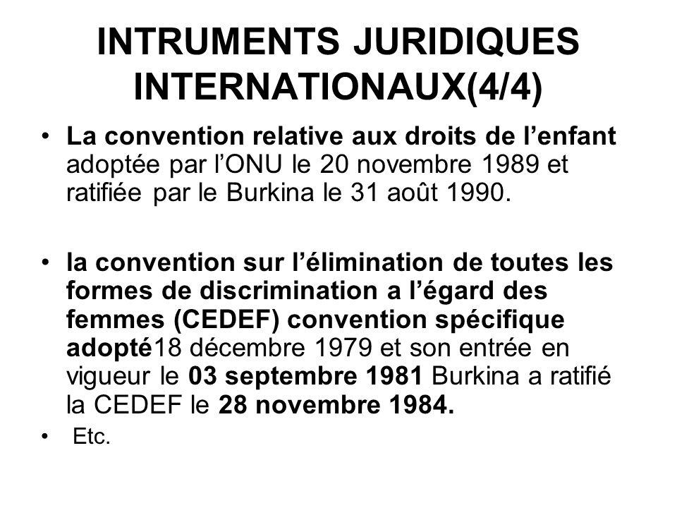 INTRUMENTS JURIDIQUES INTERNATIONAUX(4/4) La convention relative aux droits de lenfant adoptée par lONU le 20 novembre 1989 et ratifiée par le Burkina le 31 août 1990.