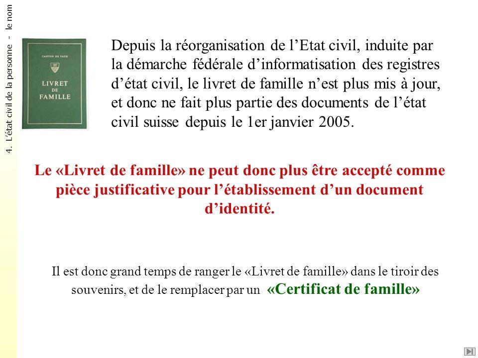 Depuis la réorganisation de lEtat civil, induite par la démarche fédérale dinformatisation des registres détat civil, le livret de famille nest plus m