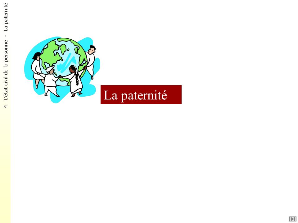 La paternité 4. Létat civil de la personne - La paternité