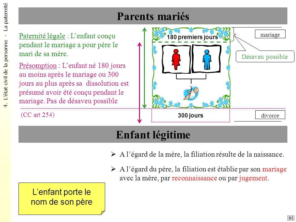 mariage Parents mariés A légard de la mère, la filiation résulte de la naissance. A légard du père, la filiation est établie par son mariage avec la m