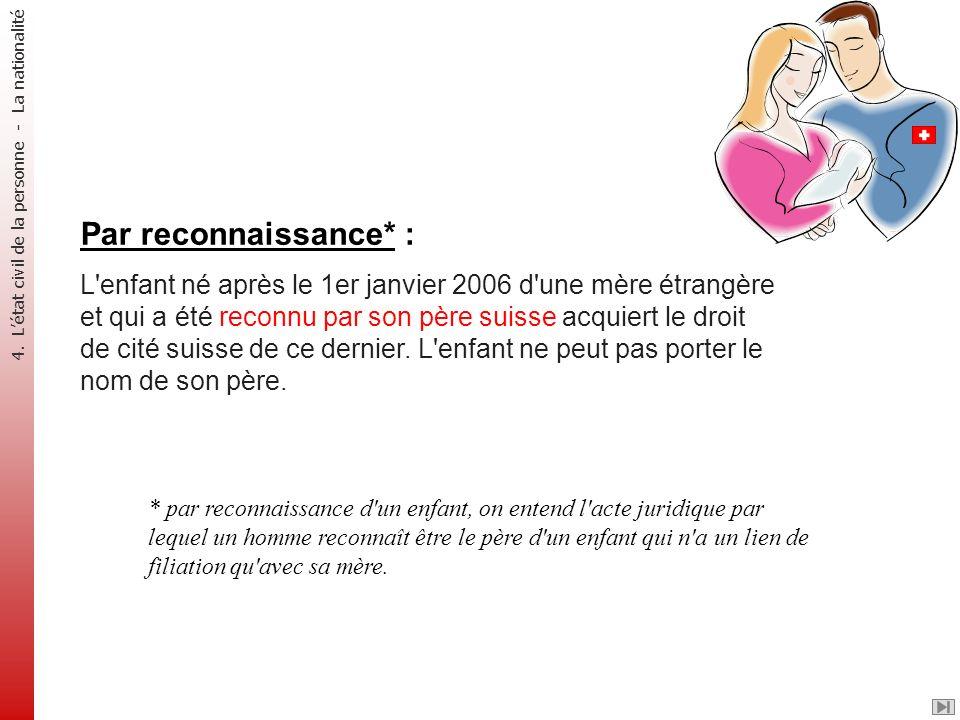 Par reconnaissance* : L'enfant né après le 1er janvier 2006 d'une mère étrangère et qui a été reconnu par son père suisse acquiert le droit de cité su