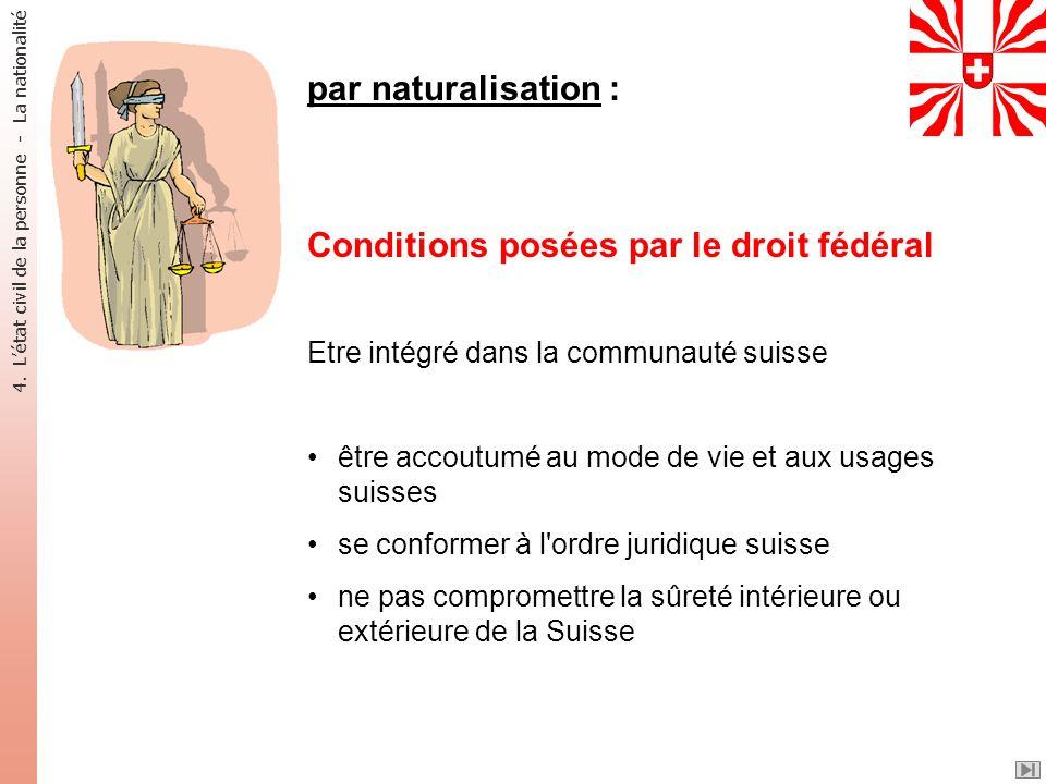 par naturalisation : Conditions posées par le droit fédéral Etre intégré dans la communauté suisse être accoutumé au mode de vie et aux usages suisses