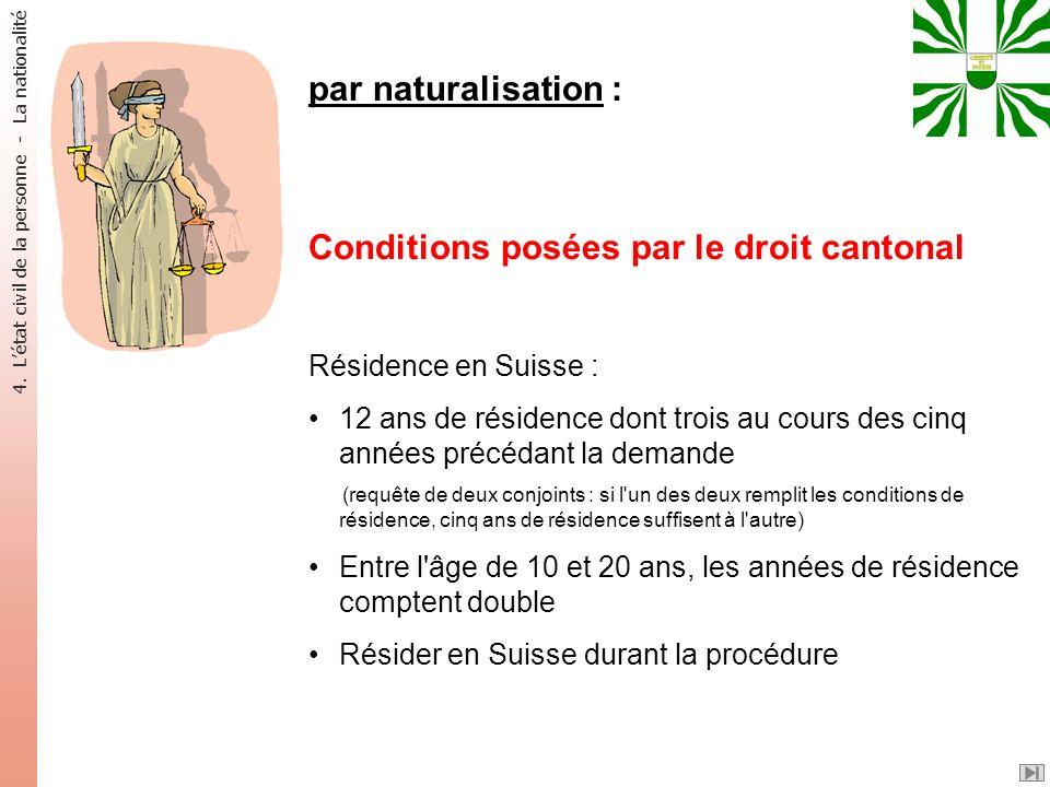 par naturalisation : Conditions posées par le droit cantonal Résidence en Suisse : 12 ans de résidence dont trois au cours des cinq années précédant l