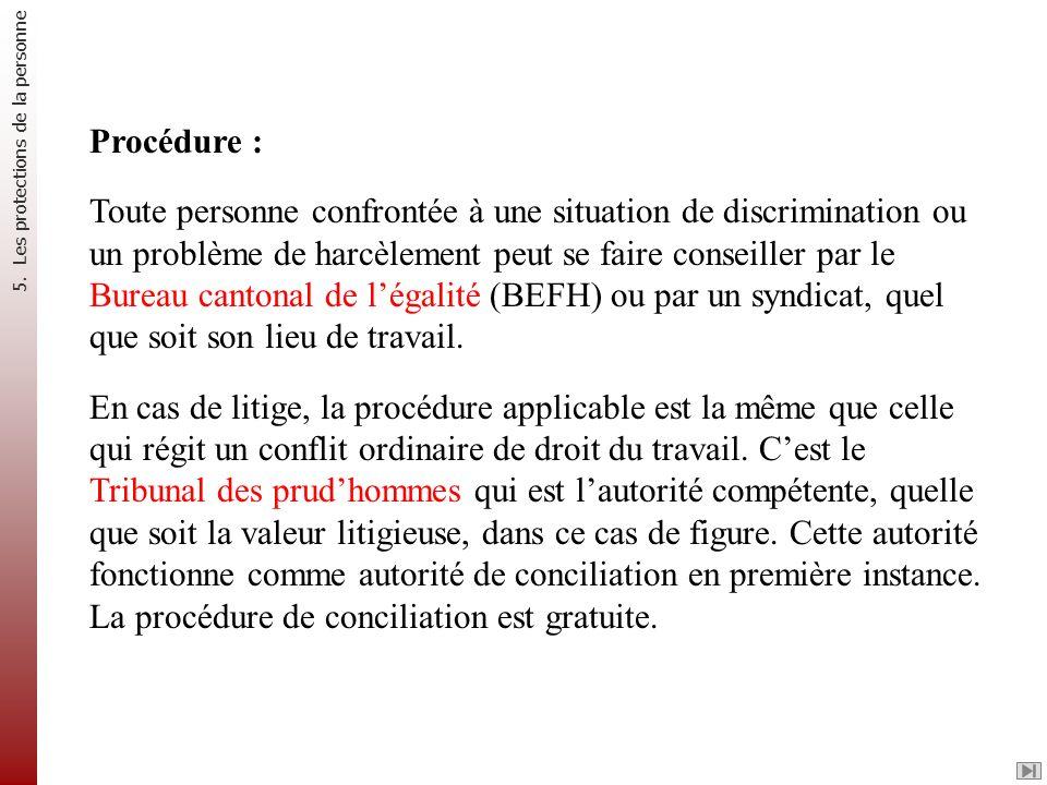 Procédure : Toute personne confrontée à une situation de discrimination ou un problème de harcèlement peut se faire conseiller par le Bureau cantonal