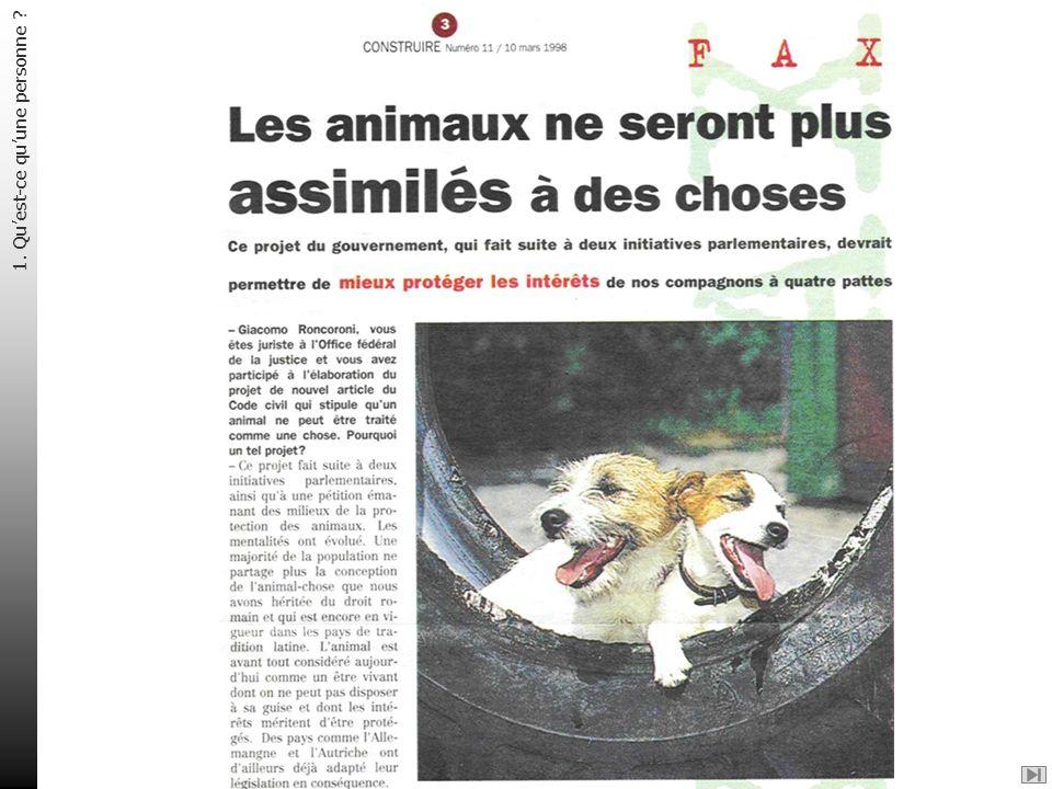 Le statut juridique des animaux saméliore; Le Conseil fédéral fixe au 1er avril 2003 lentrée en vigueur de plusieurs modifications législatives (Communiqué de presse du 21.02.2003, Département fédéral de justice et police) Berne, 21.02.2003.