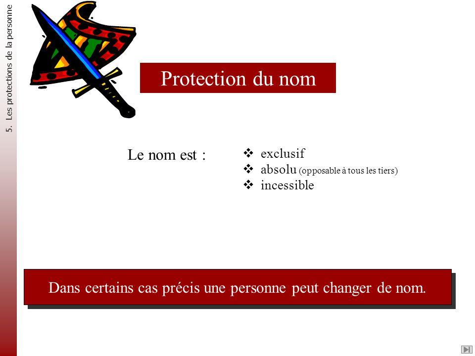 Le nom est : exclusif absolu (opposable à tous les tiers) incessible Dans certains cas précis une personne peut changer de nom. Protection du nom 5. L