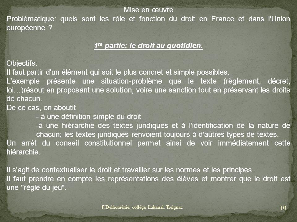 Mise en œuvre Problématique: quels sont les rôle et fonction du droit en France et dans l'Union européenne ? 1 re partie: le droit au quotidien. Objec