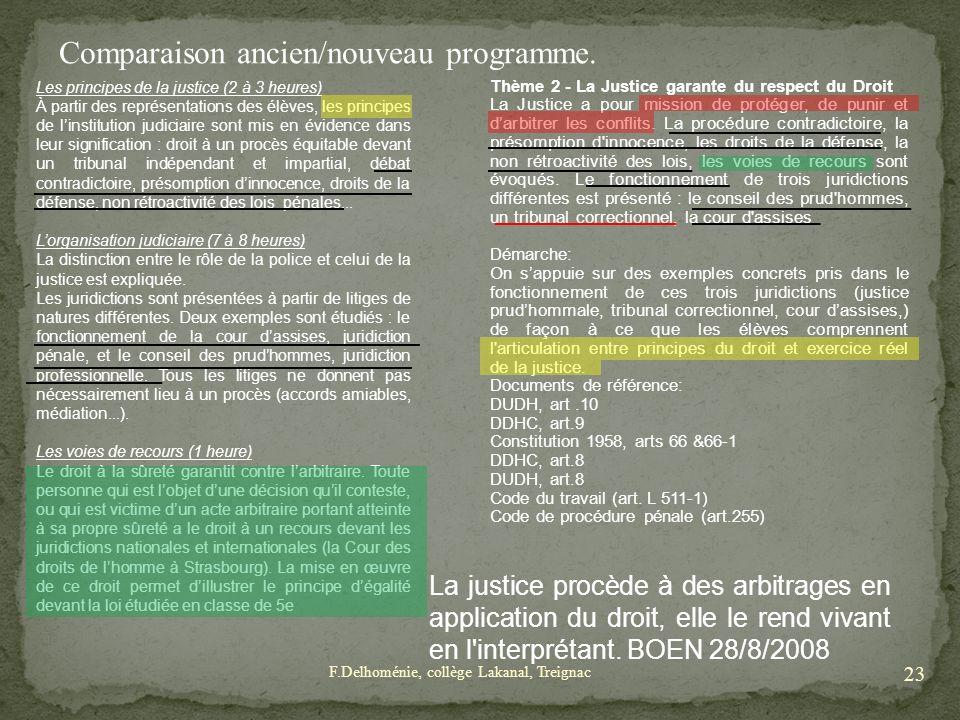 Comparaison ancien/nouveau programme. Les principes de la justice (2 à 3 heures) À partir des représentations des élèves, les principes de linstitutio