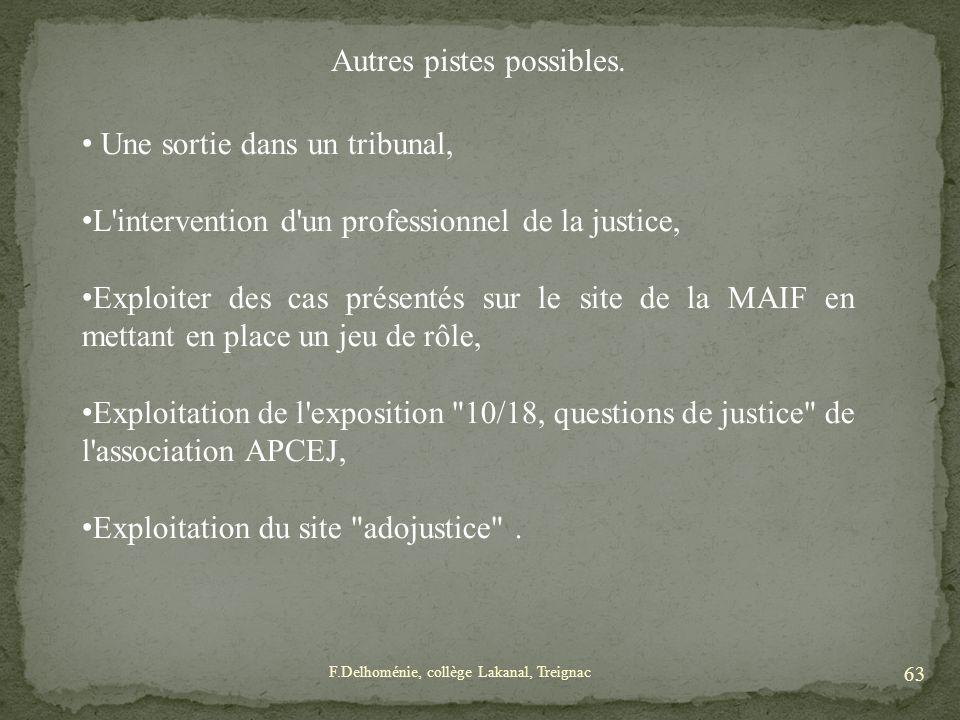Autres pistes possibles. Une sortie dans un tribunal, L'intervention d'un professionnel de la justice, Exploiter des cas présentés sur le site de la M