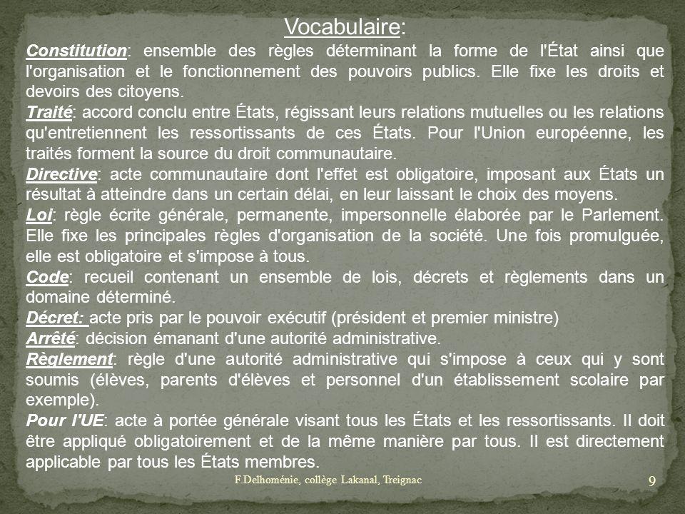 Vocabulaire: Constitution: ensemble des règles déterminant la forme de l'État ainsi que l'organisation et le fonctionnement des pouvoirs publics. Elle
