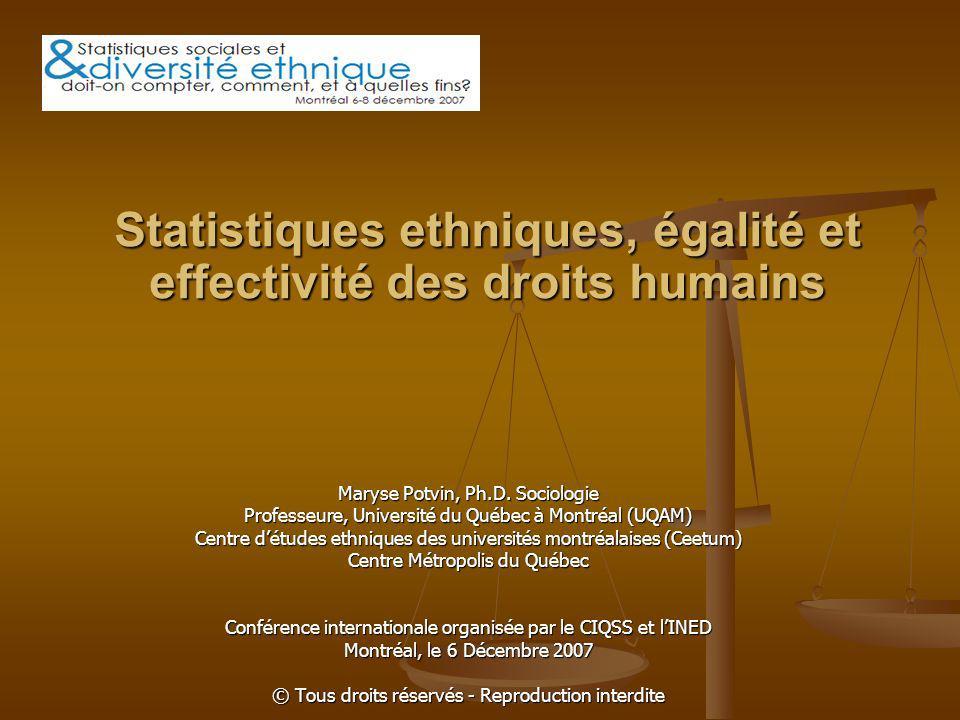 « Évolution » historique et juridique Cour suprême du Canada et rôle de la statistique: élaboration de la preuve des discriminations (O Malley c.