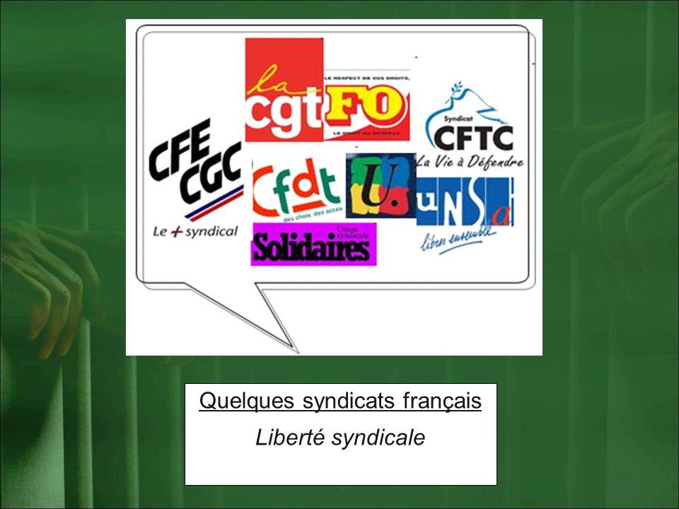 Quelques syndicats français Liberté syndicale