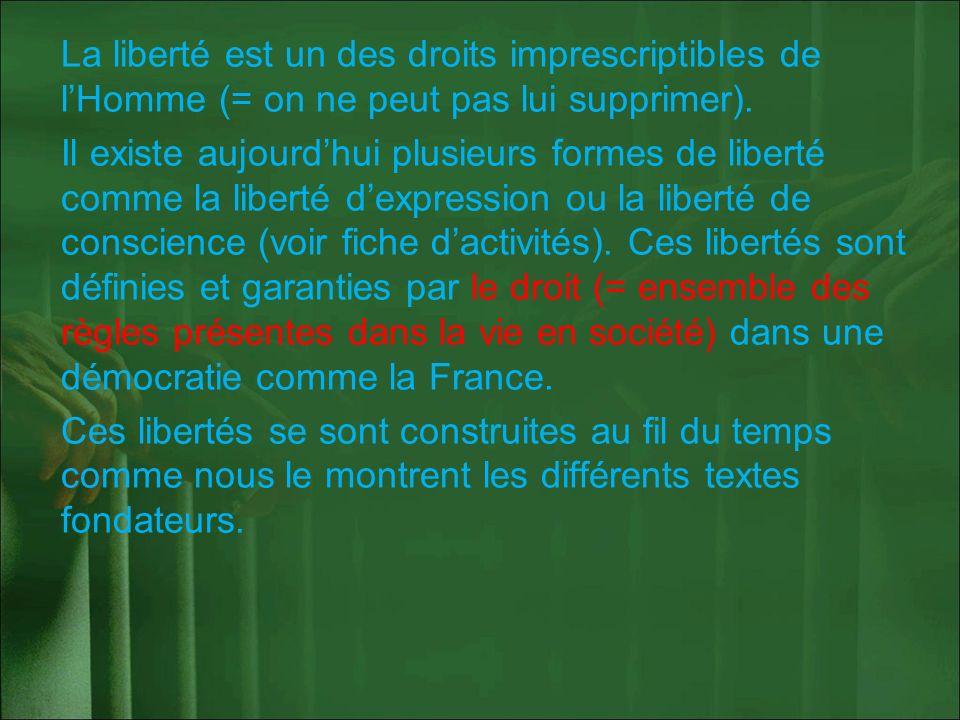 La liberté est un des droits imprescriptibles de lHomme (= on ne peut pas lui supprimer). Il existe aujourdhui plusieurs formes de liberté comme la li