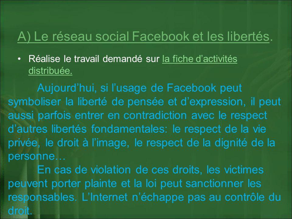 A) Le réseau social Facebook et les libertés. Réalise le travail demandé sur la fiche dactivités distribuée.la fiche dactivités distribuée. Aujourdhui