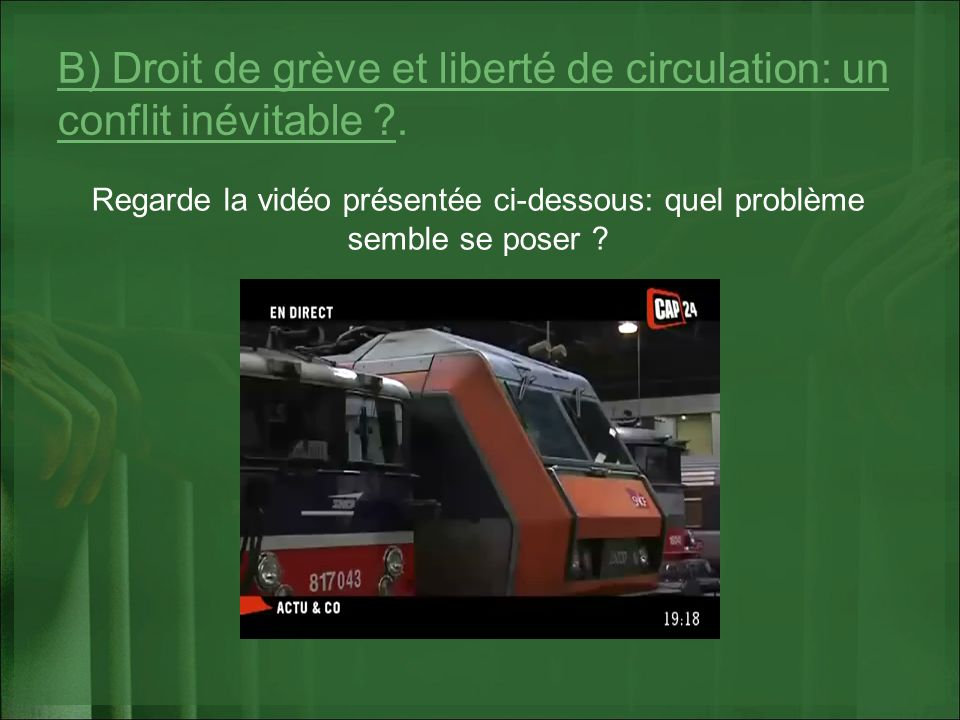 B) Droit de grève et liberté de circulation: un conflit inévitable ?. Regarde la vidéo présentée ci-dessous: quel problème semble se poser ?