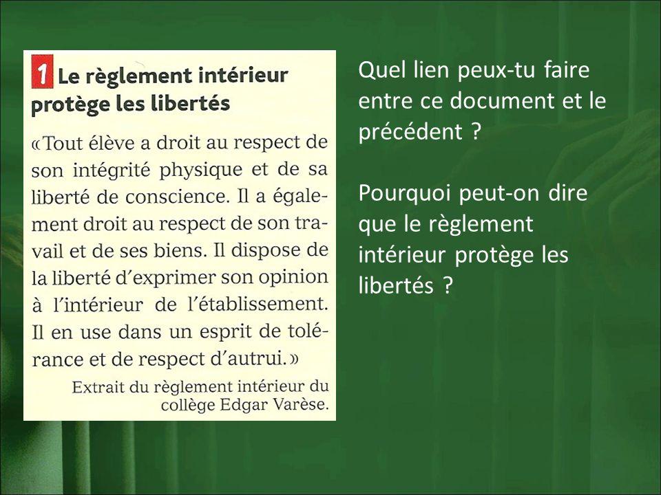 Quel lien peux-tu faire entre ce document et le précédent ? Pourquoi peut-on dire que le règlement intérieur protège les libertés ?