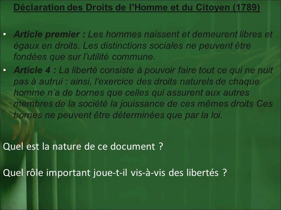Déclaration des Droits de l'Homme et du Citoyen (1789) Article premier : Les hommes naissent et demeurent libres et égaux en droits. Les distinctions
