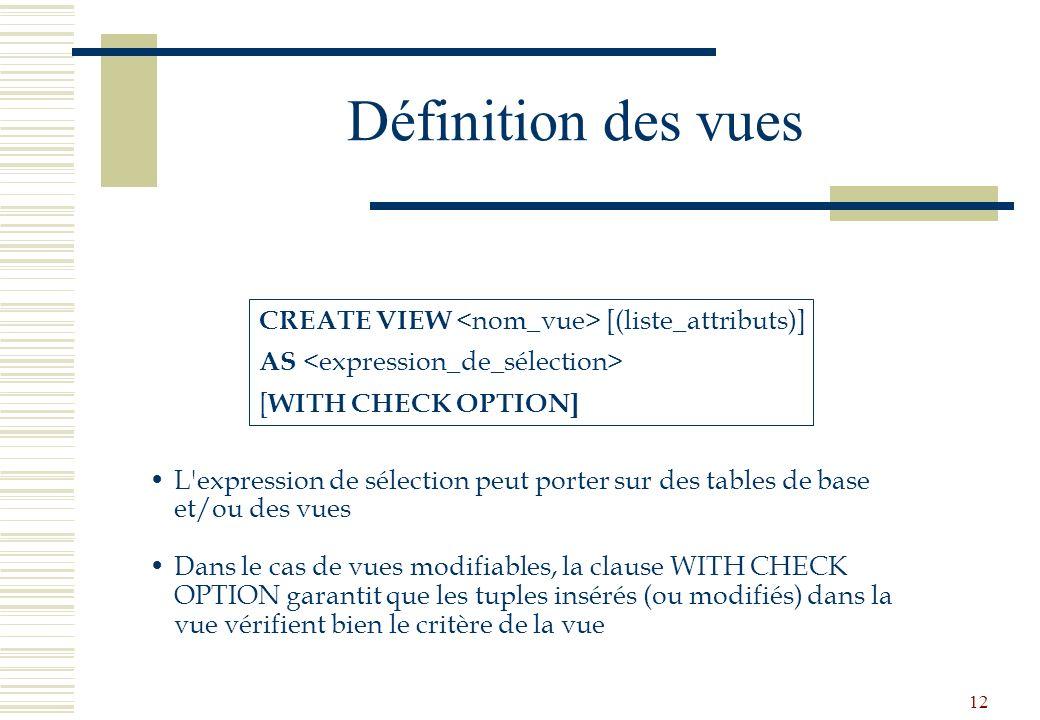 12 Définition des vues CREATE VIEW [(liste_attributs)] AS [ WITH CHECK OPTION] L'expression de sélection peut porter sur des tables de base et/ou des