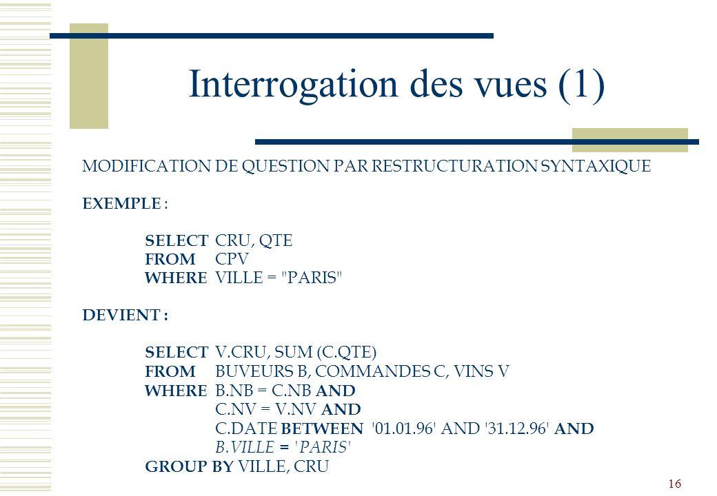 16 Interrogation des vues (1) MODIFICATION DE QUESTION PAR RESTRUCTURATION SYNTAXIQUE EXEMPLE : SELECT CRU, QTE FROM CPV WHERE VILLE =